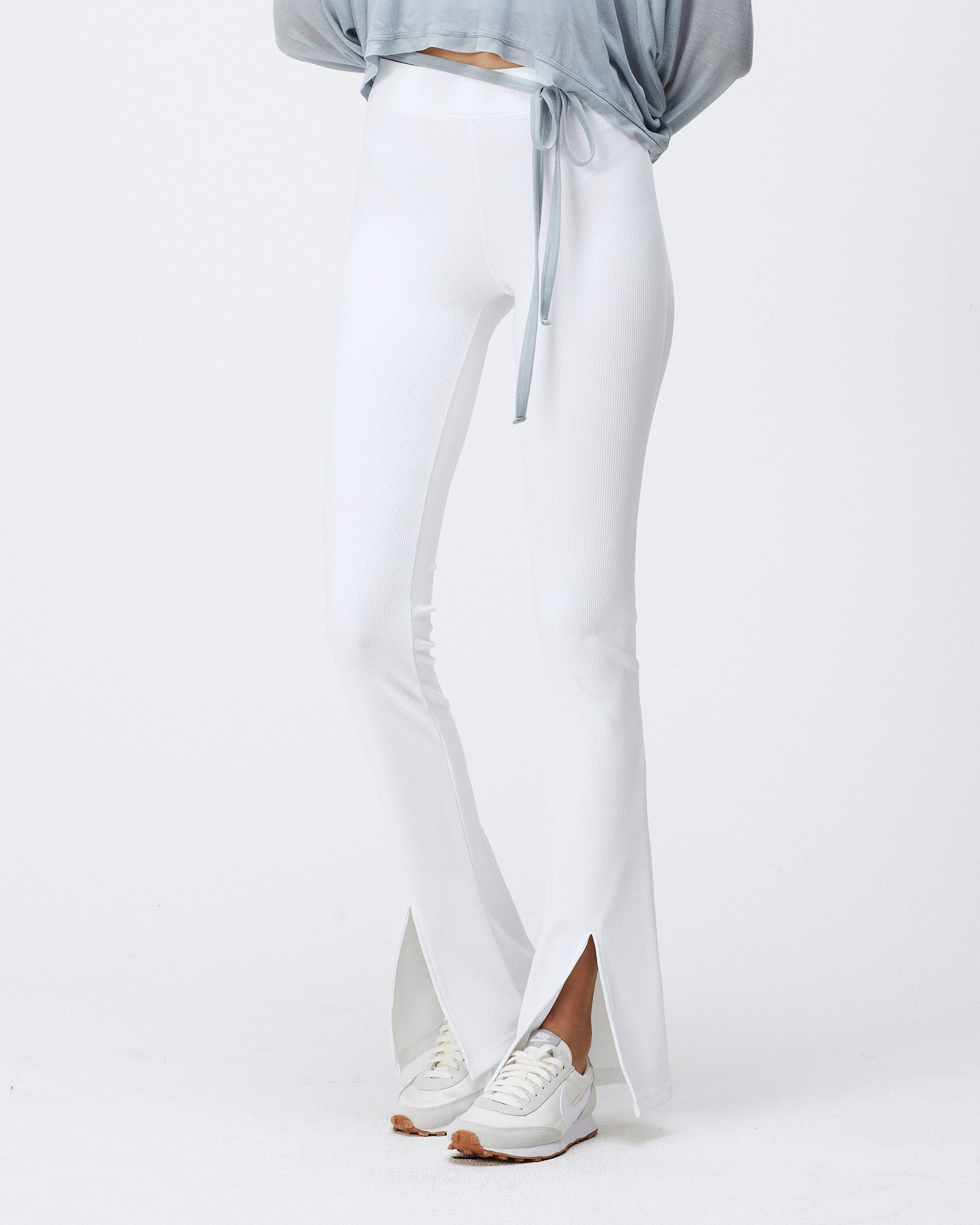 DAMIEN RIBBED PANTS WHITE