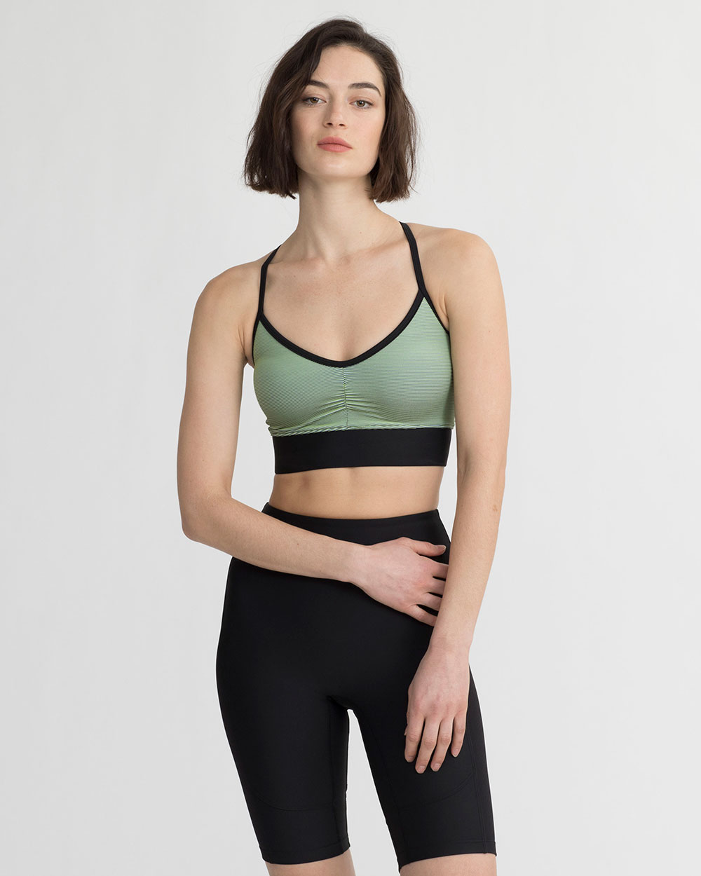 ERIN TANK IRIDESCENT LIME GREEN & BLACK COMBO
