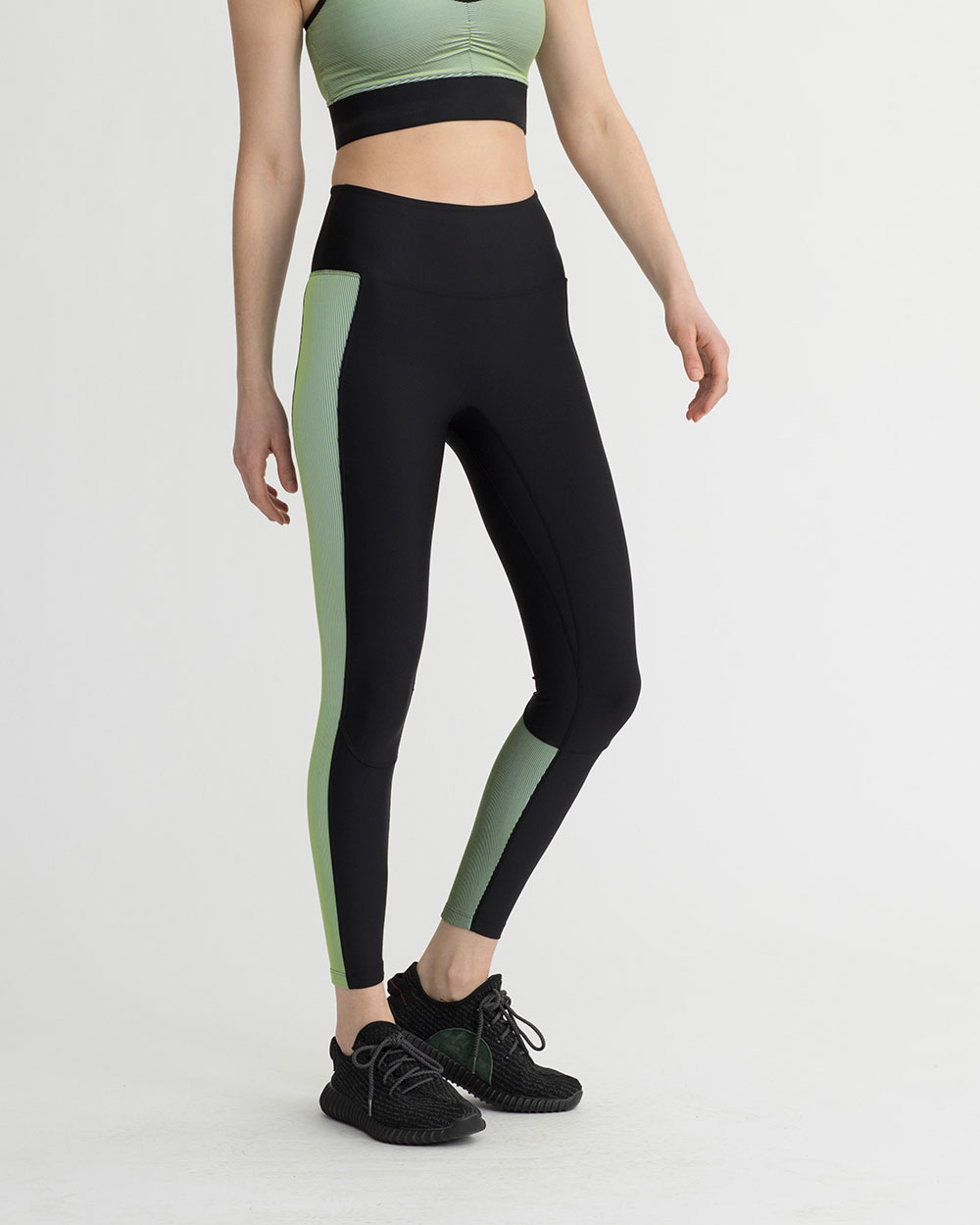 LEVEE LEGGINGS IRIDESCENT LIME GREEN & BLACK COMBO
